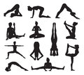 Yoga or pilates poses silhouettes a set of highly detailed high quality pose Royalty Free Stock Image