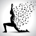 Yoga pose with birds flying from human body, black and white yoga poster