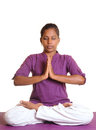 Yoga pose indian teen girl doing namaskaram on white background Royalty Free Stock Photo