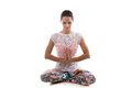 Yoga pose sukhasana girl on white background in easy decent pleasant bows Stock Photography
