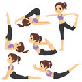 Yoga poses girl set with beautiful exercising various different training Stock Photo