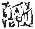 Yoga poses silhouettes a set of highly detailed high quality pose Royalty Free Stock Photo