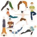 Yoga positions mans characters class vector illustration.