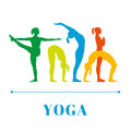 Yoga poster with silhouettes of women in the yoga poses on a white background.