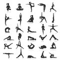 Yoga postures exercises set. Royalty Free Stock Photo