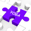Yoga puzzle shows meditation health and relaxation showing Stock Photography