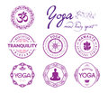 Yoga related stamps and seals collection of on white background Stock Image