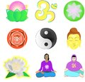 Yoga set of images about and meditation Stock Photo