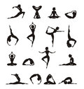 Yoga silhouette of girl authors illustration in vector Royalty Free Stock Photography