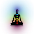Yoga silhouette human with seven chakras Royalty Free Stock Images