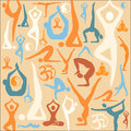 Yoga silhouette icons pattern background decorative with symbols and positions vector illustration Royalty Free Stock Photos