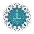 Yoga silhouette in the Lotus position on the background of the o Royalty Free Stock Photo