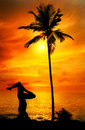 Yoga silhouette shirshasana at ocean Stock Photography