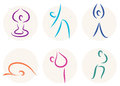 Yoga stick figure icons or symbols Stock Photography