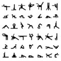 Yoga stick people. Sport exercises flexible person different basic yoga poses symbols vector silhouettes of simple