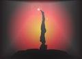 Yoga Straight Headstand Pose Glare Background
