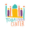 Yoga studio center logo, colorful hand drawn vector illustration