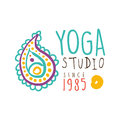 Yoga studio since 1985 logo, colorful hand drawn vector illustration