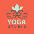 Yoga studio logotype with open palms isolated vector illustration