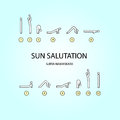 Yoga sun salutation vector set of icons for exercises line style Stock Photography