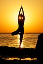 Yoga on sunset Royalty Free Stock Photo