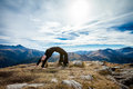 Yoga in tatry mountains beautiful panorama czerwone wierchy cervene vrchy Royalty Free Stock Images