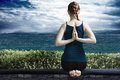 Yoga on terrace Royalty Free Stock Photo