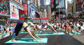Yoga At Times Square Royalty Free Stock Photo