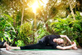 Yoga in the tropic garden Stock Image