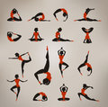 Yoga vintage icons authors illustration in vector Royalty Free Stock Images