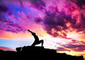 Yoga virabhadrasana warrior pose Royalty Free Stock Photo