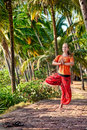 Yoga vrikshasana pose in palm forest Royalty Free Stock Photo