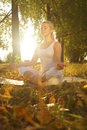 Yoga woman on autumn park background Royalty Free Stock Photography