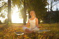 Yoga woman on autumn park background Stock Photography