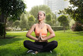 Yoga woman on green grass in lotus pose Stock Image