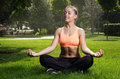 Yoga woman on green grass in lotus pose Stock Photography