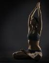 Yoga woman meditate sitting in lotus pose. Silhoue Royalty Free Stock Photo