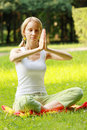 Yoga woman at meditation Royalty Free Stock Image