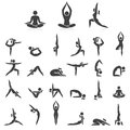 Yoga woman poses icons set. Vector illustrations.