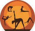 Yoga woman silhouette icons Royalty Free Stock Photo