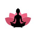 Yoga Woman Silhouette, Pink Lotus Flower Background Logo Design Royalty Free Stock Photo