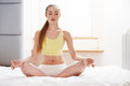 Yoga Woman. Young Lady Practicing Morning Meditation Royalty Free Stock Photo
