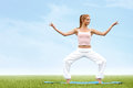 Yoga woman young woman practicing morning meditation against na nature background Stock Image
