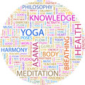 Yoga word cloud illustration tag cloud concept collage Stock Images