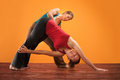Yogasana Instructor and Student Stock Photography