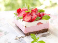Yoghurt cheesecake with fresh strawberry selective focus Stock Photos
