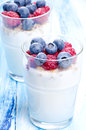 Yoghurt desserts with fruits fruit and yogurt close up Royalty Free Stock Image