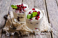 Yoghurt with pomegranate seeds Royalty Free Stock Photo