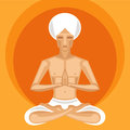 Yogi meditating illustration of in lotus position on orange background Stock Image
