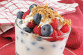 Yogurt berry parfait with blueberries raspberries and granola Stock Photos